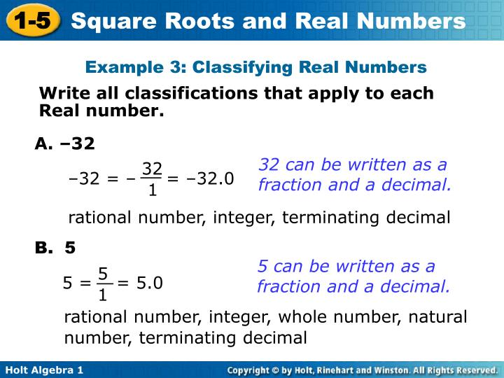 Example 3: Classifying Real Numbers