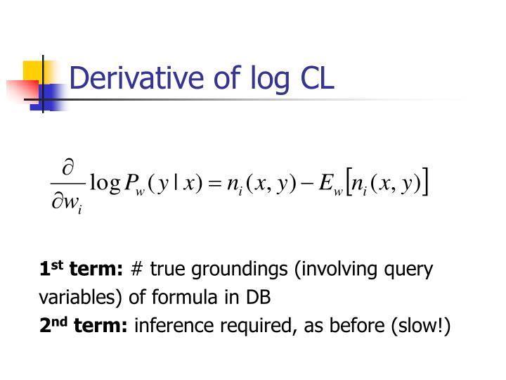 Derivative of log CL