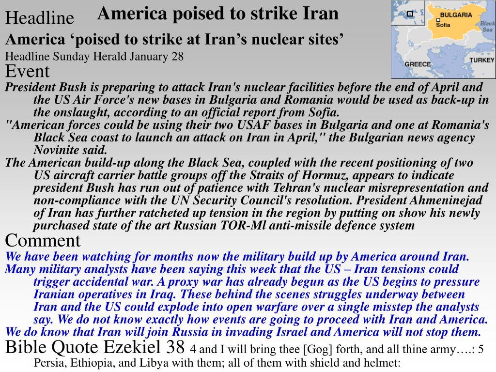 America poised to strike Iran