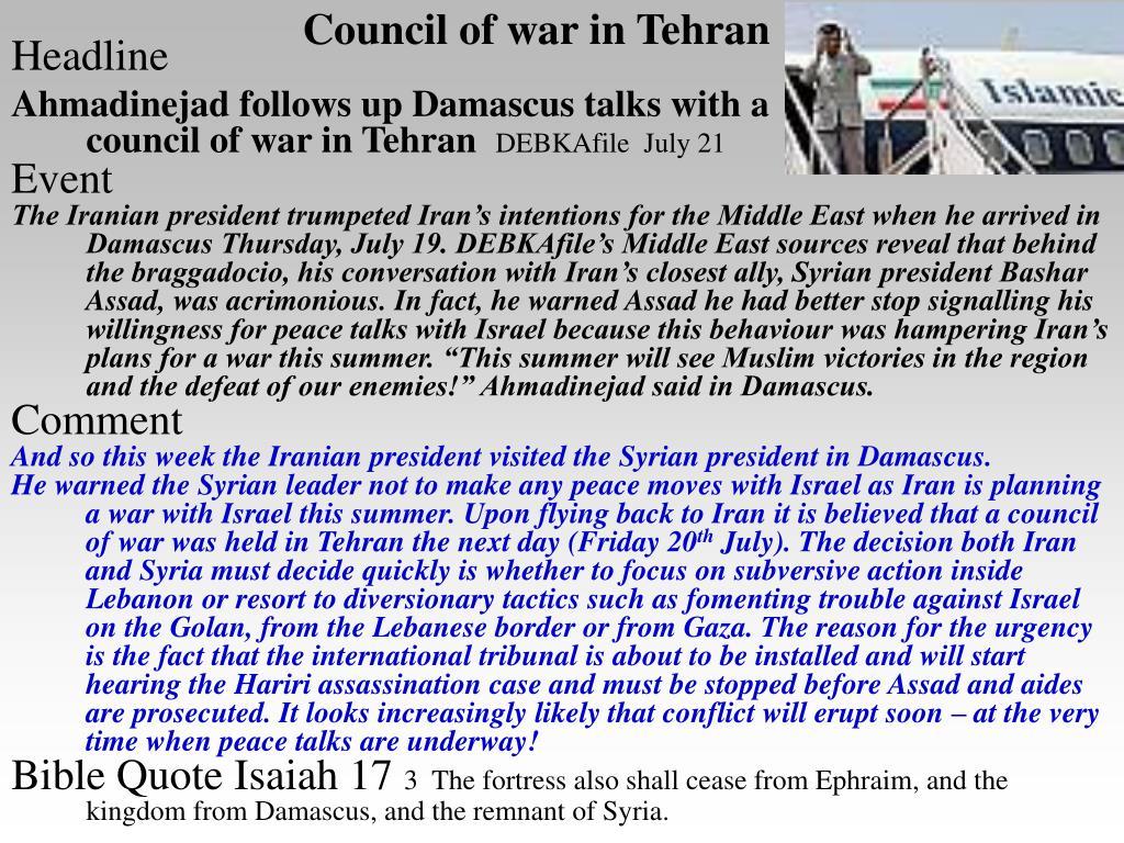 Council of war in Tehran