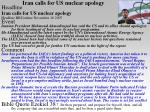 iran calls for us nuclear apology
