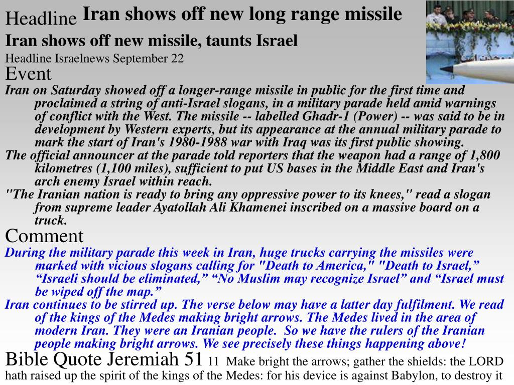 Iran shows off new long range missile