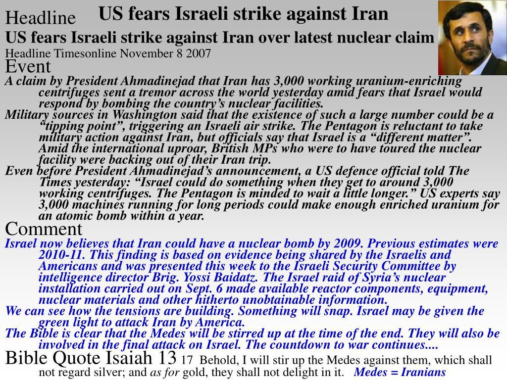 US fears Israeli strike against Iran