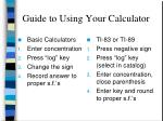 guide to using your calculator
