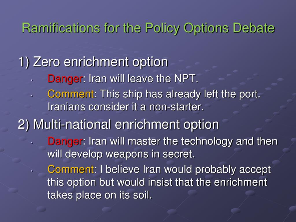 Ramifications for the Policy Options Debate