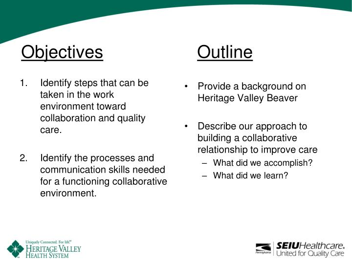 Objectives outline