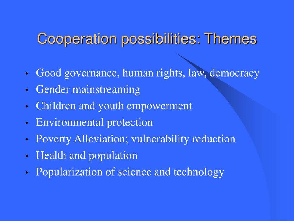 Cooperation possibilities: Themes