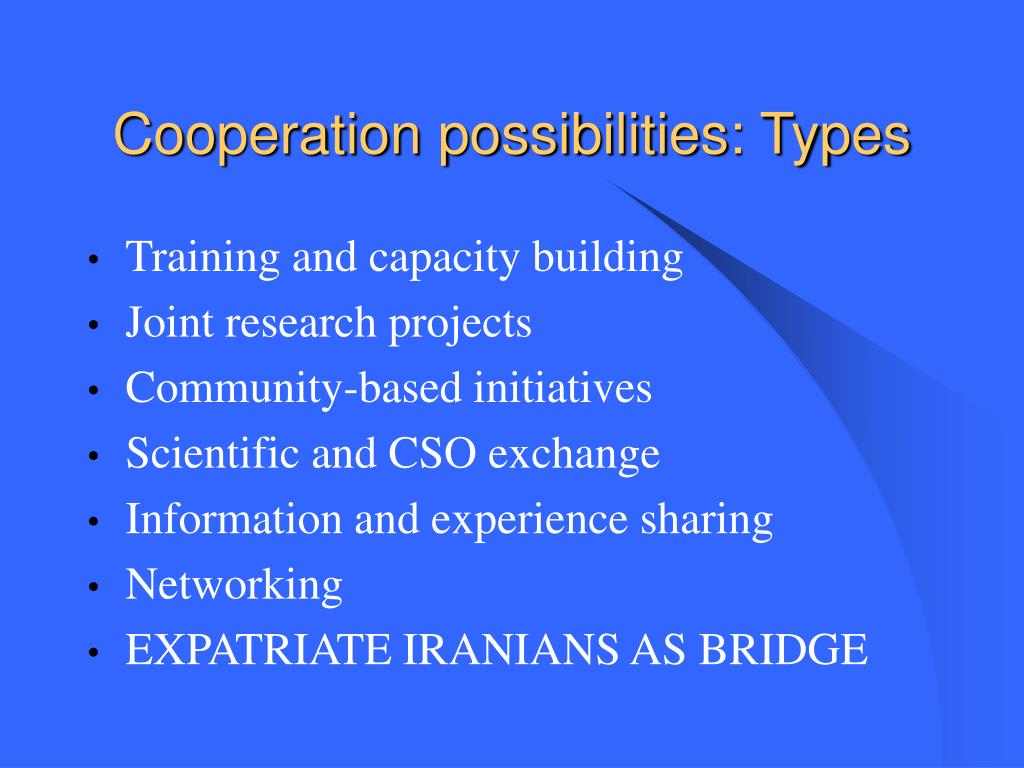 Cooperation possibilities: Types