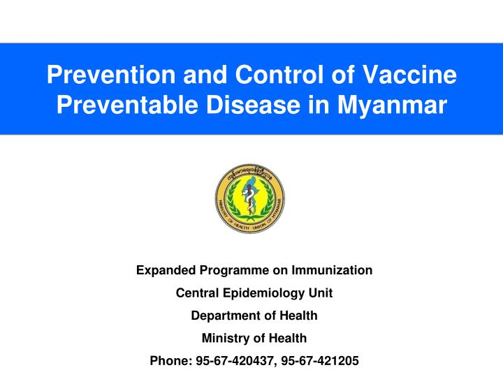 prevention and control of vaccine preventable disease in myanmar n.