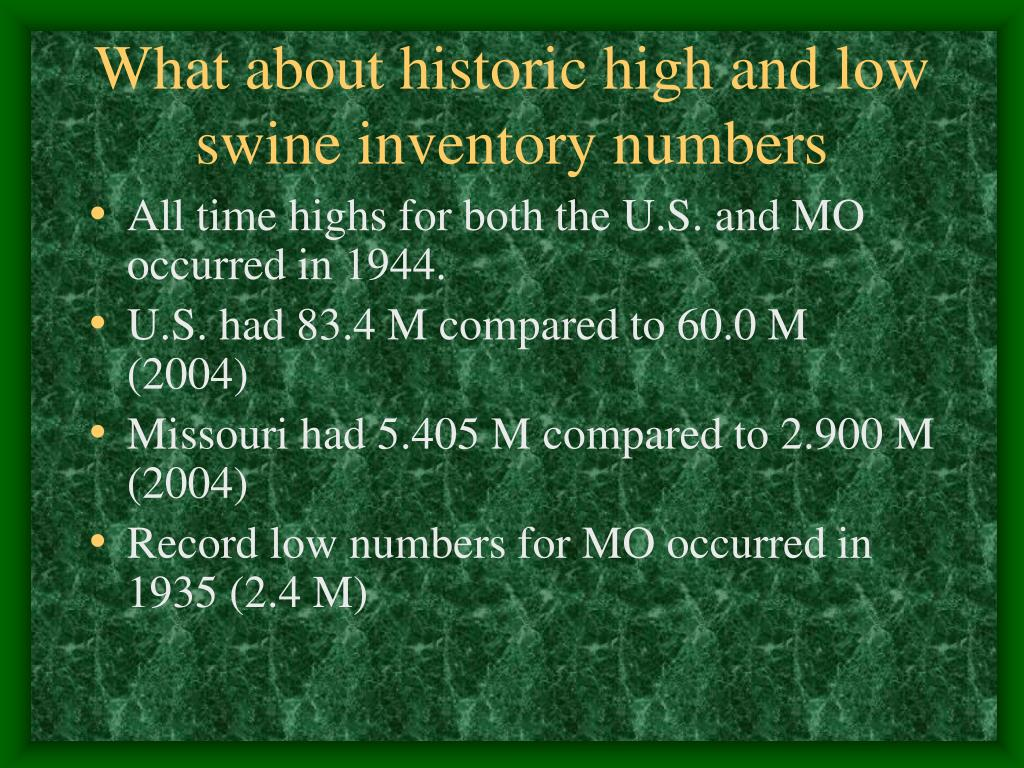 What about historic high and low swine inventory numbers