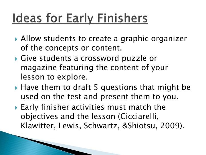 Ideas for Early Finishers