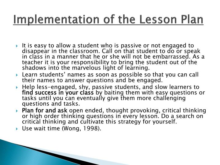 Implementation of the Lesson Plan