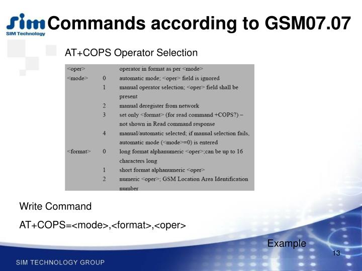 Commands according to GSM07.07