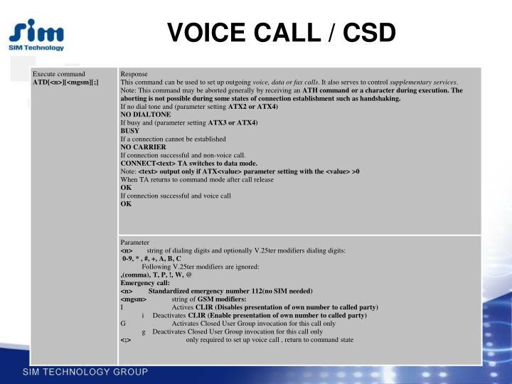 VOICE CALL / CSD