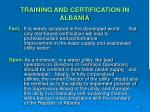 training and certification in albania