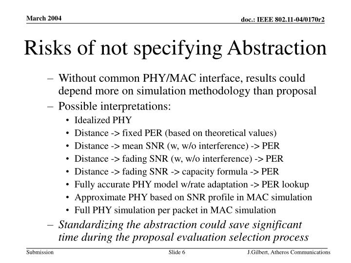 Risks of not specifying Abstraction