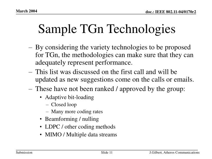 Sample TGn Technologies
