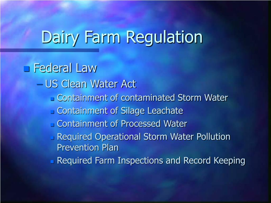 Dairy Farm Regulation