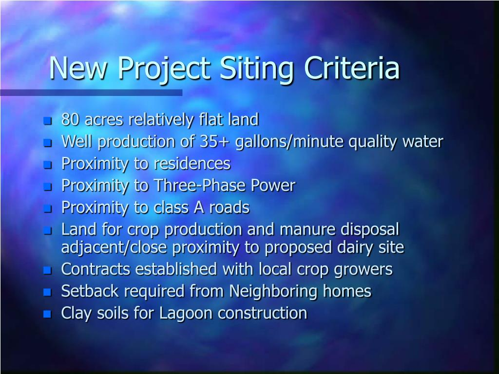 New Project Siting Criteria