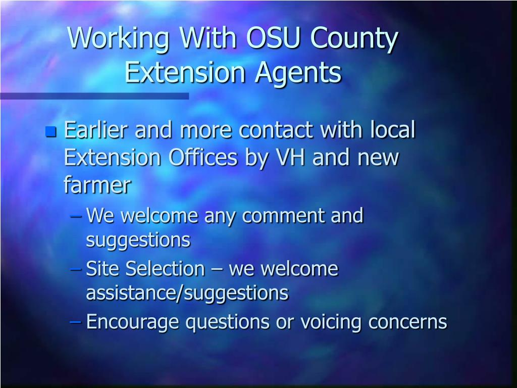 Working With OSU County Extension Agents