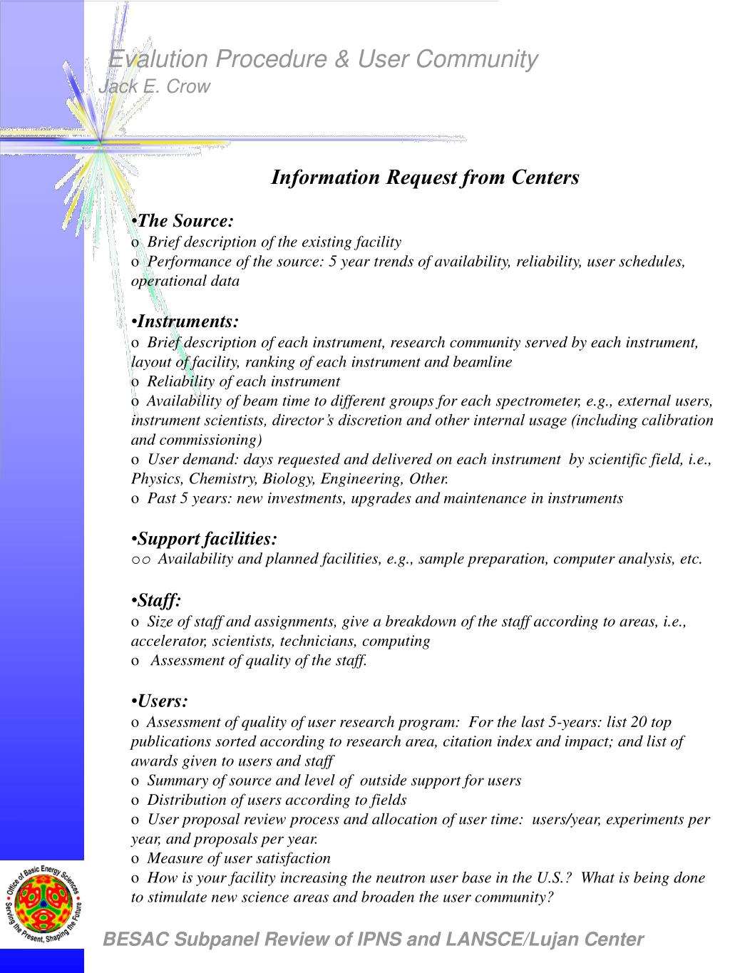 Information Request from Centers