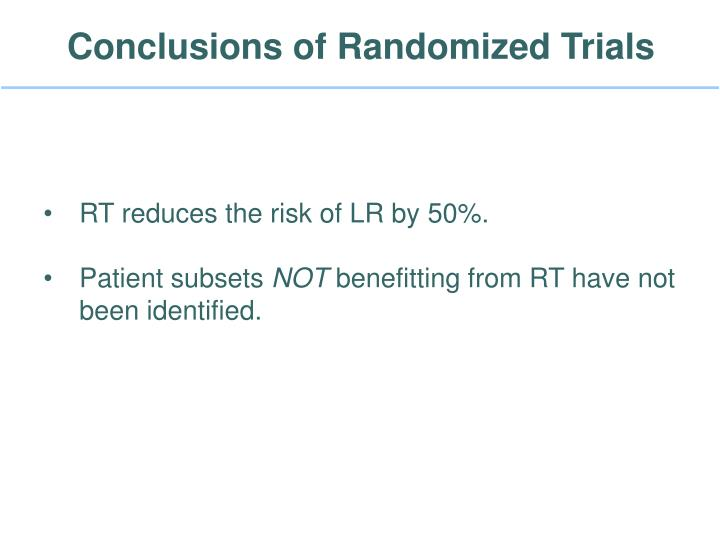Conclusions of Randomized Trials