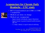 acupuncture for chronic daily headache unc study