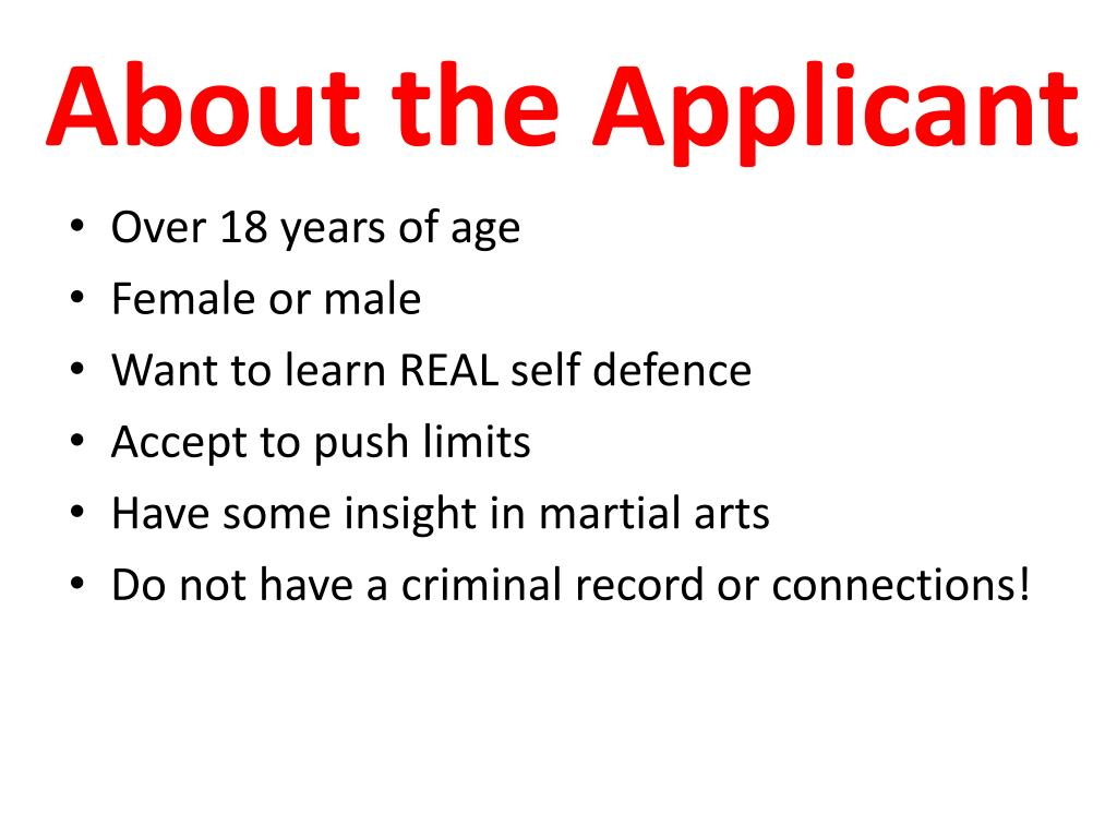 About the Applicant