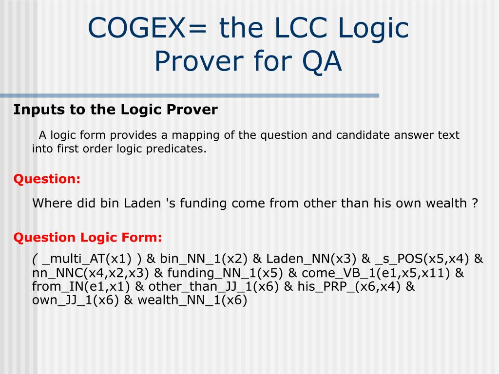COGEX= the LCC Logic Prover for QA
