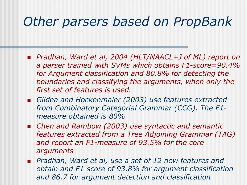 Other parsers based on PropBank