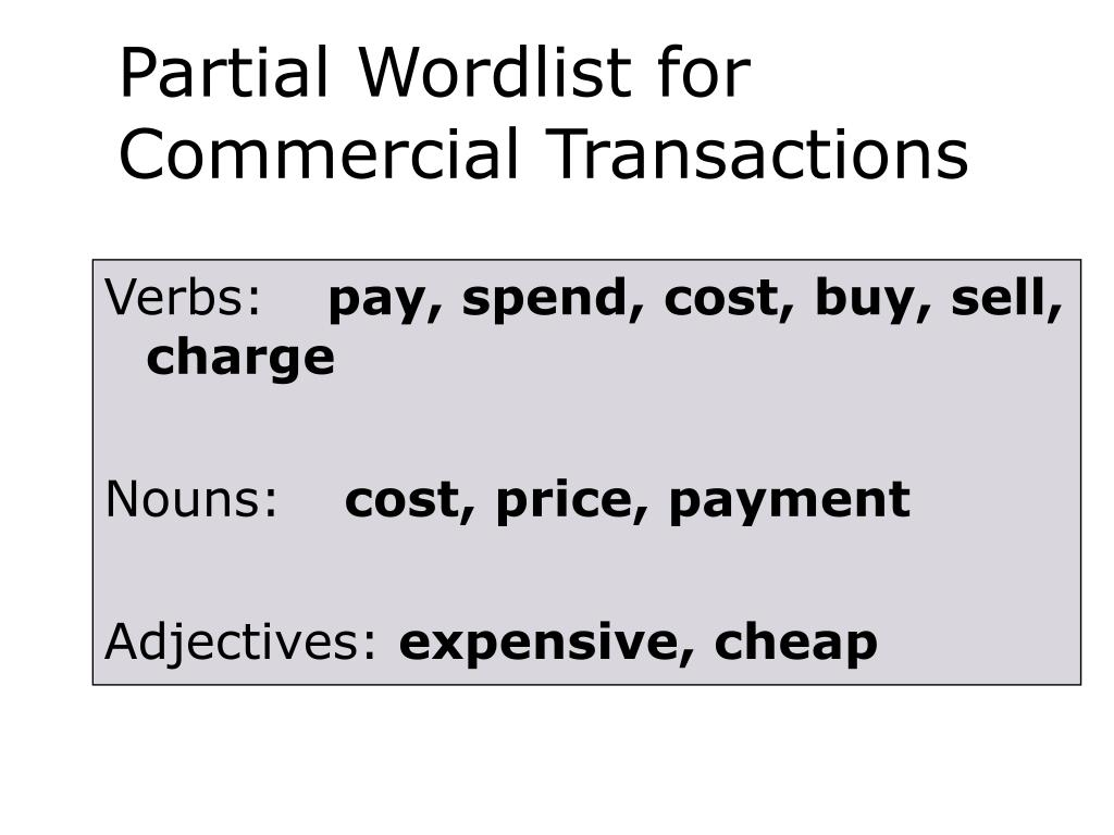 Partial Wordlist for Commercial Transactions