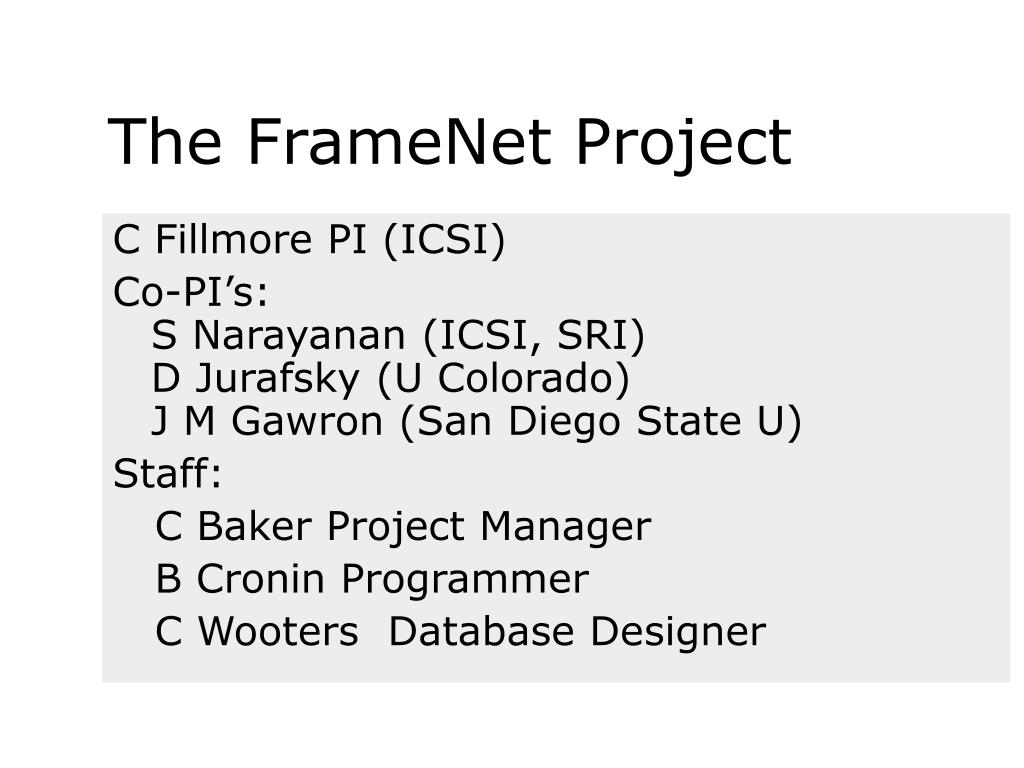 The FrameNet Project