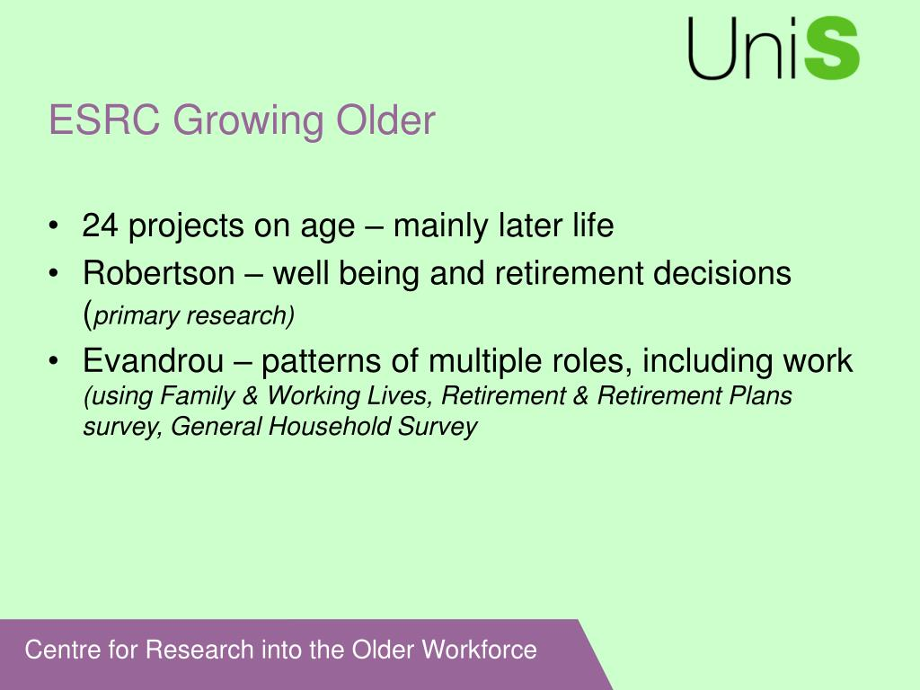 ESRC Growing Older
