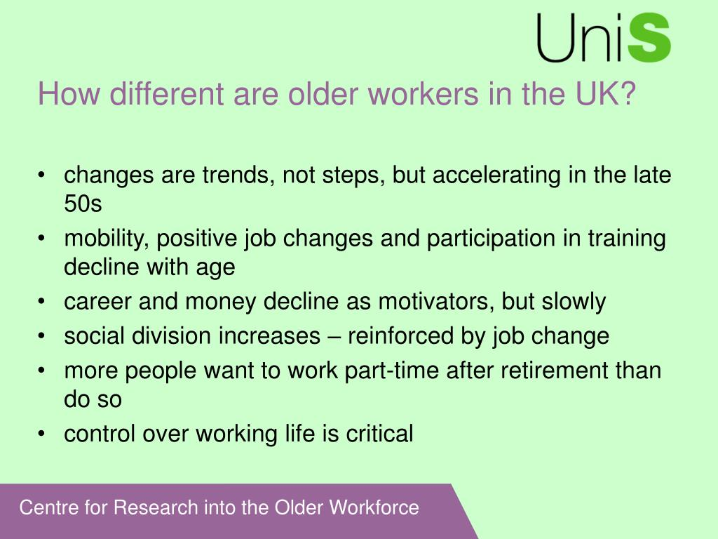 How different are older workers in the UK?