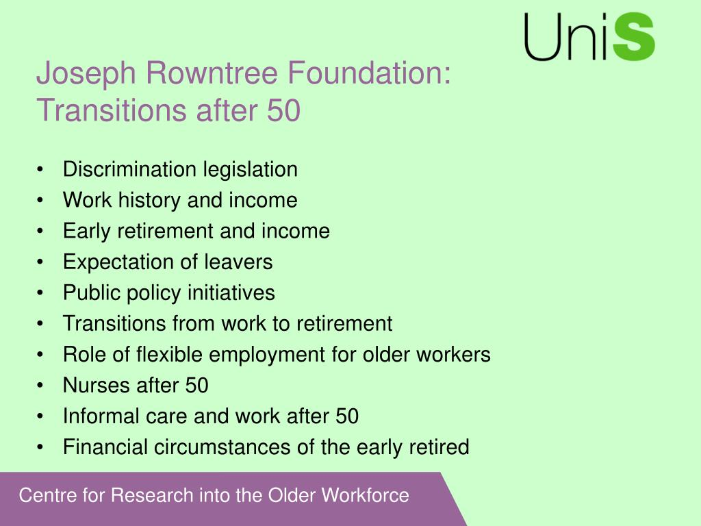 Joseph Rowntree Foundation: Transitions after 50