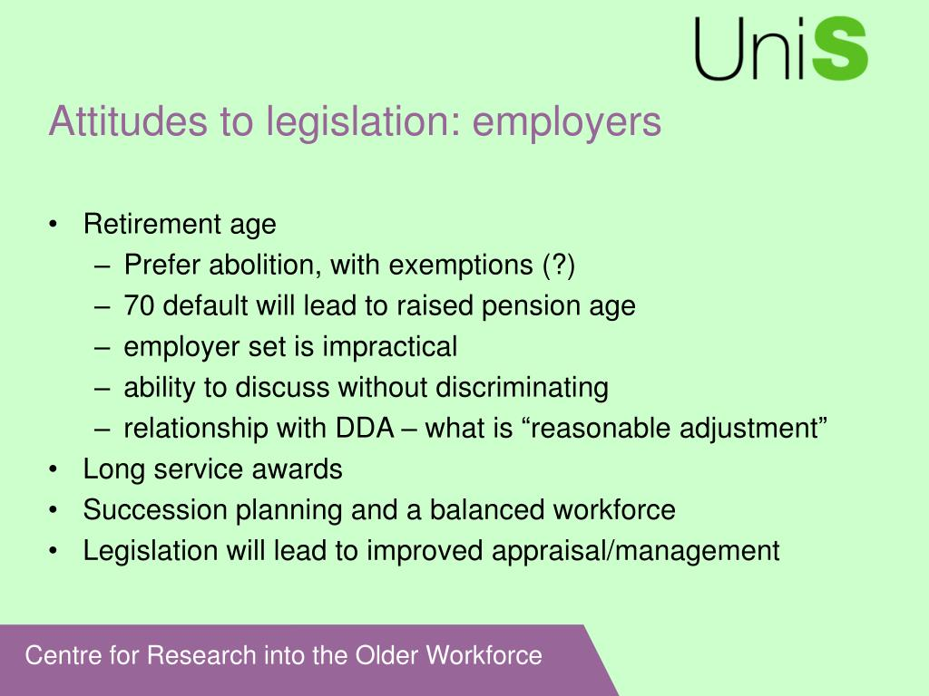 Attitudes to legislation: employers