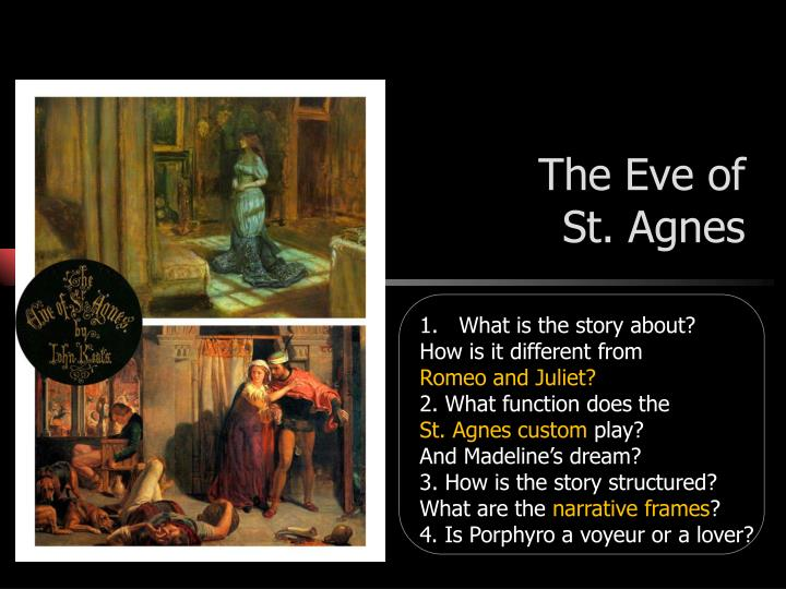 an analysis of eve of st agnes by john keats A poetrynotes™ analysis of the eve of st agnes by john keats, is available a poetrynotes™ ebook is available for this poem for delivery within 24 hours , and usually available within minutes during normal business hours.