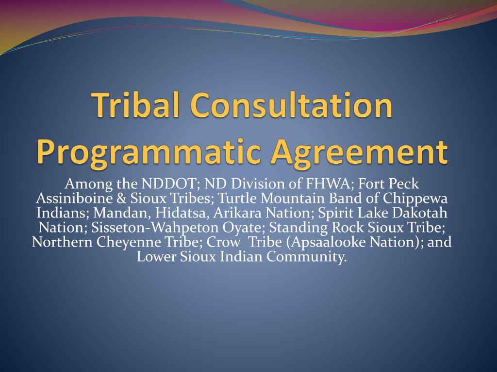 tribal consultation programmatic agreement l.