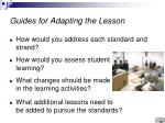 guides for adapting the lesson