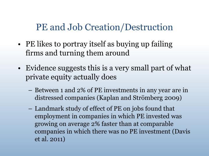 Pe and job creation destruction