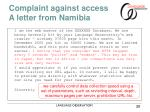 complaint against access a letter from namibia