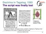 doctrina in tagalog 1593 the script was finally lost