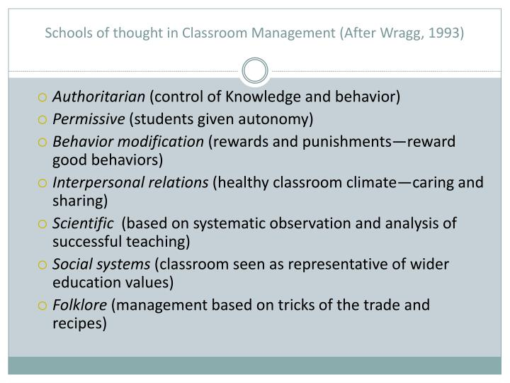 Schools of thought in Classroom Management (After Wragg, 1993)