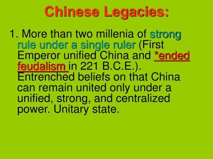 Chinese legacies