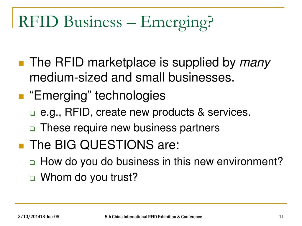RFID Business – Emerging?