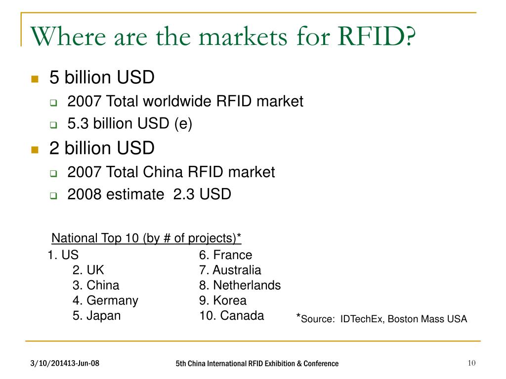Where are the markets for RFID?