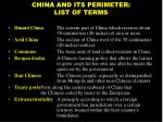 china and its perimeter list of terms49