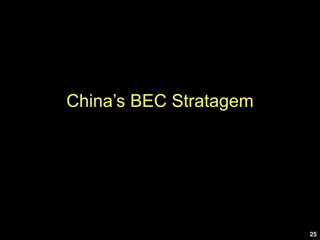 China's BEC Stratagem