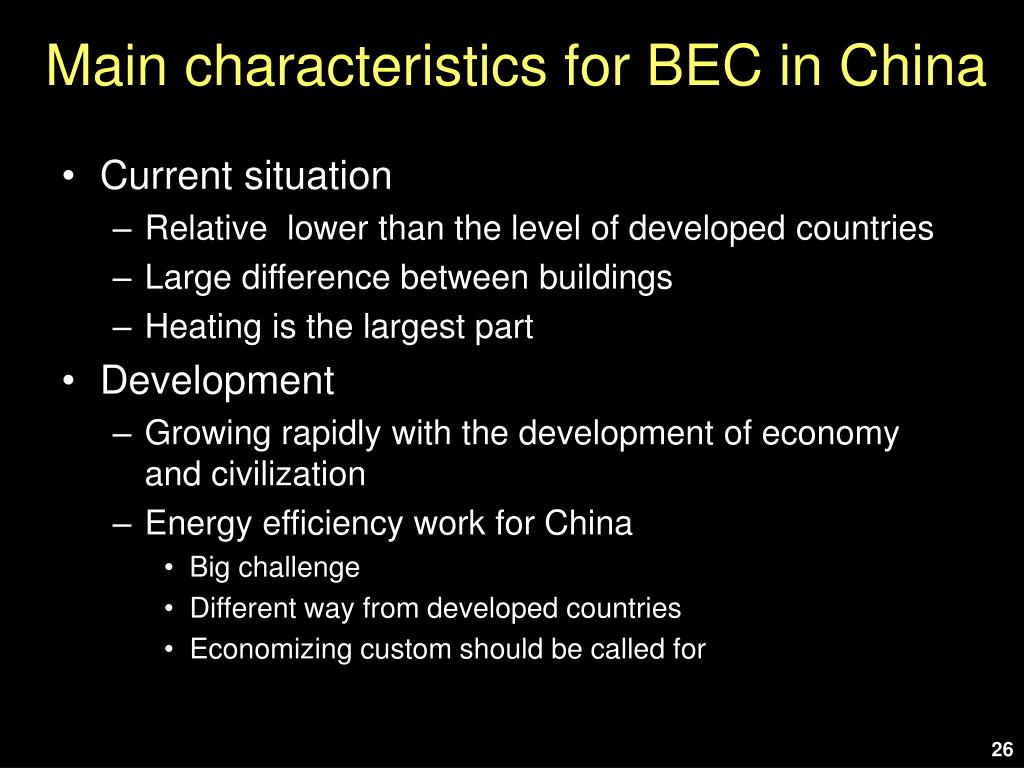 Main characteristics for BEC in China