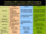 prediction of bec in china in 2020 considering improvement of urbanization and living condition